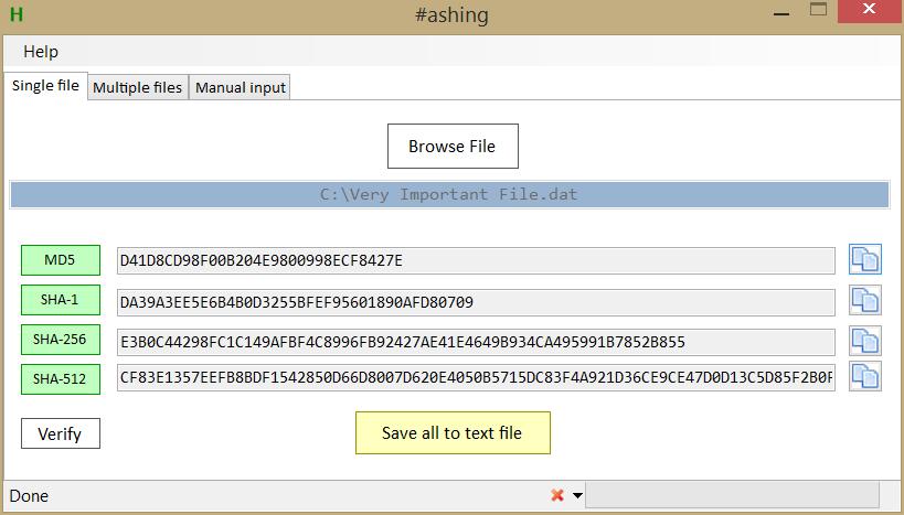 Hashing: MD5, SHA-1/256/512 for Windows